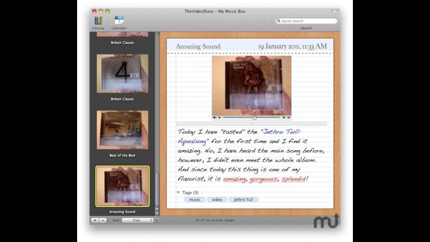 Vidiary for Mac - review, screenshots