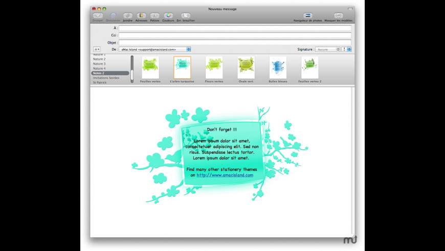 Notes 2 Stationery Pack for Mail for Mac - review, screenshots