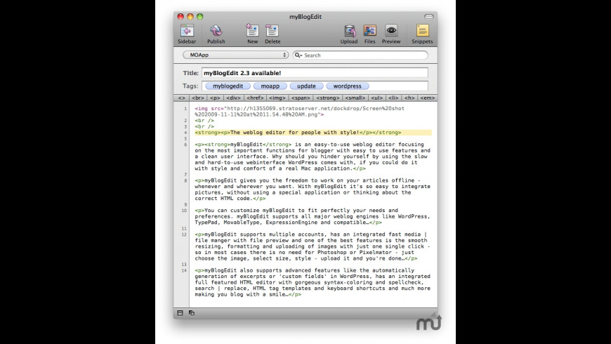 myBlogEdit for Mac - review, screenshots