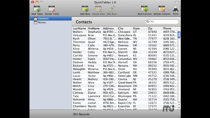QuickTables for Mac - review, screenshots