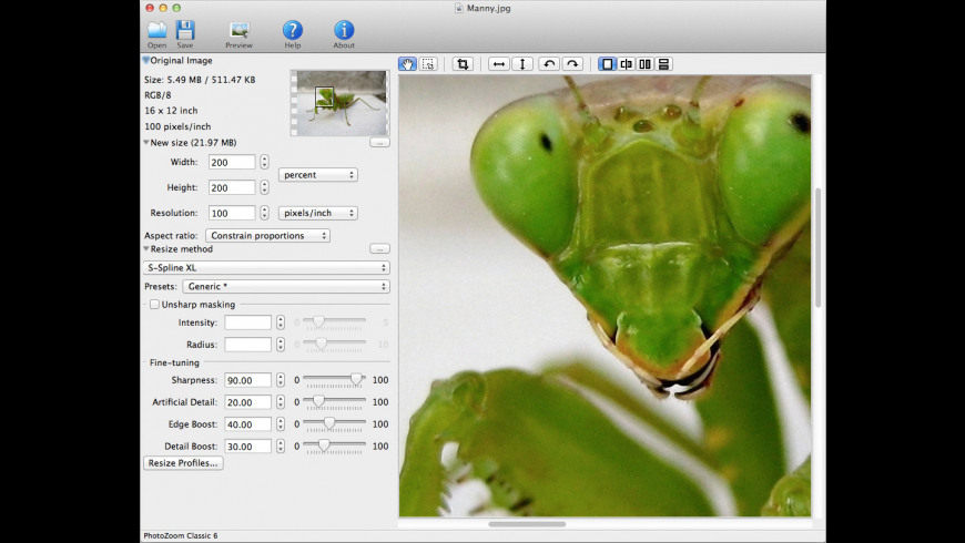 PhotoZoom Classic for Mac - review, screenshots