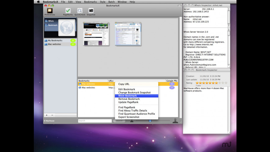 BookmarksX for Mac - review, screenshots