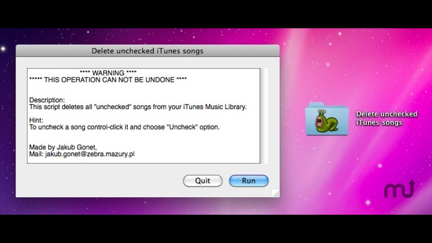 Delete Unchecked iTunes Songs for Mac - review, screenshots