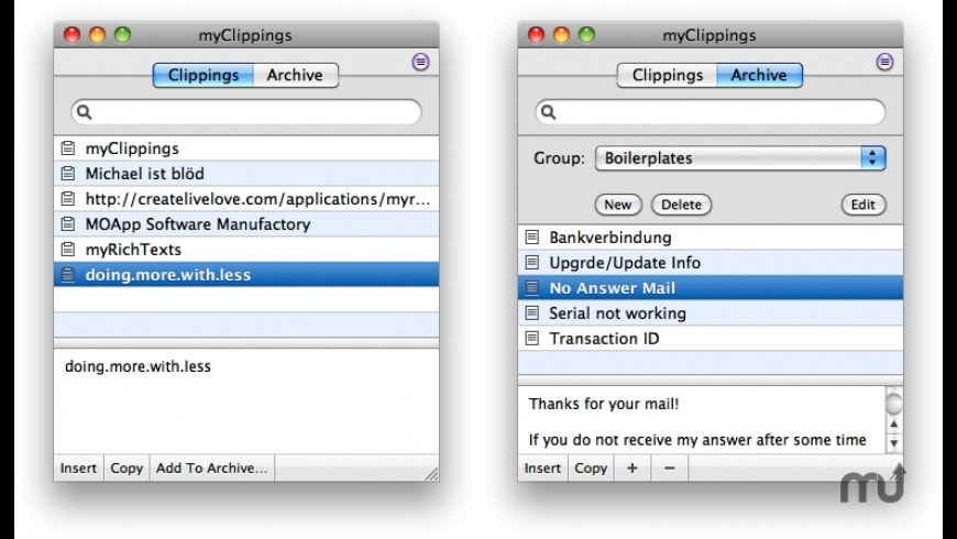 myClippings for Mac - review, screenshots