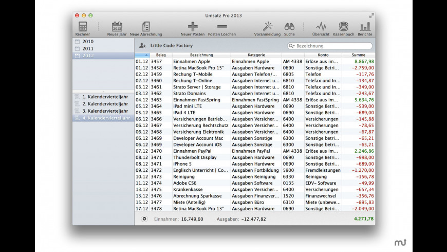 Umsatz Pro for Mac - review, screenshots
