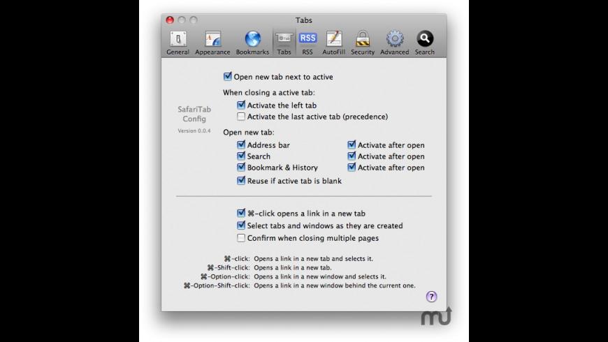 SafariTabConfig for Mac - review, screenshots