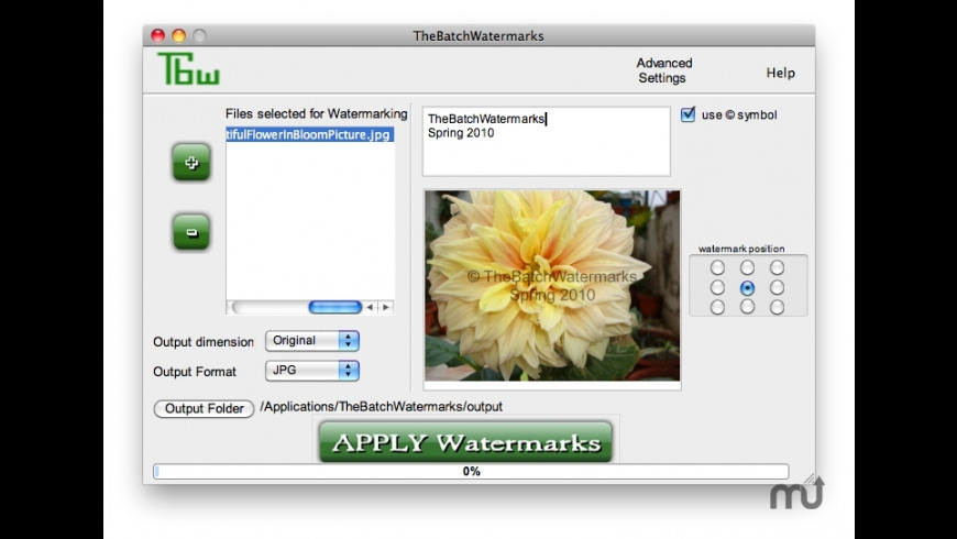 TheBatchWatermarks for Mac - review, screenshots
