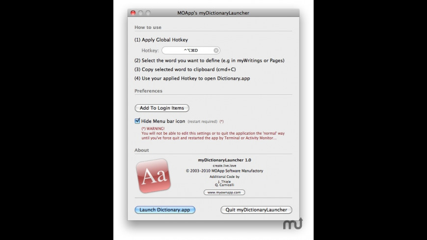 myDictionaryLauncher for Mac - review, screenshots