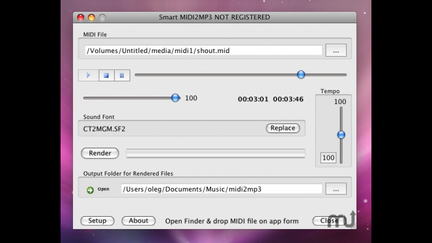 MIDI 2 MP3 for Mac - review, screenshots