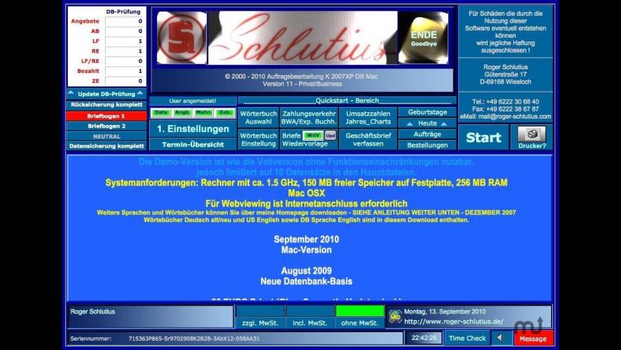 K 2007XP DB Business for Mac - review, screenshots