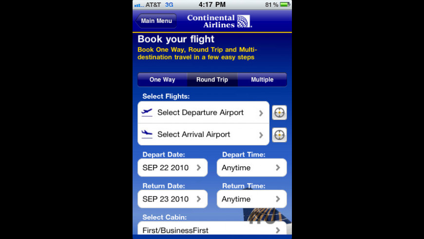 Continental Airlines, Inc for Mac - review, screenshots