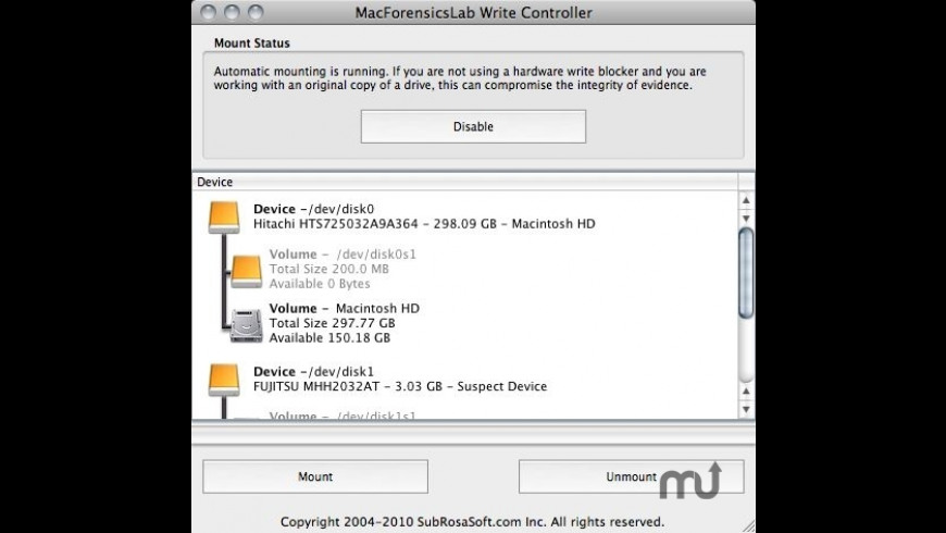 MacForensicsLab Write Controller for Mac - review, screenshots