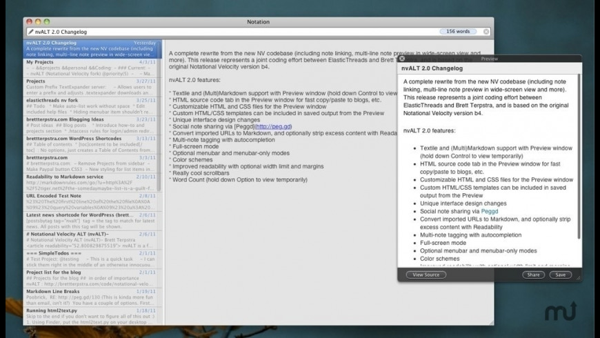 nvALT for Mac - review, screenshots