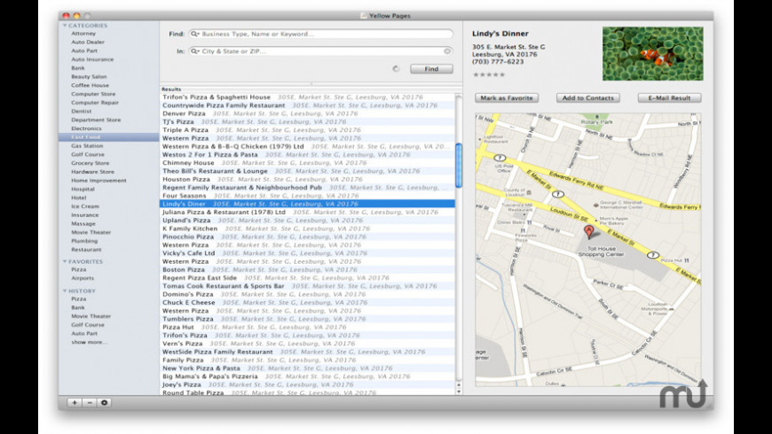Yellow Pages for Mac - review, screenshots