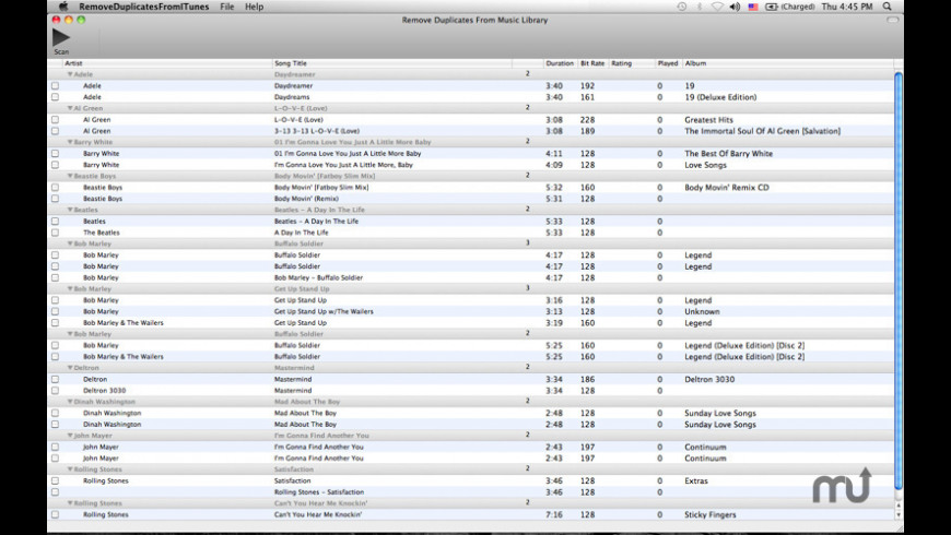 Remove Duplicates from Music Library for Mac - review, screenshots