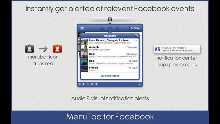 MenuTab for Facebook for Mac - review, screenshots