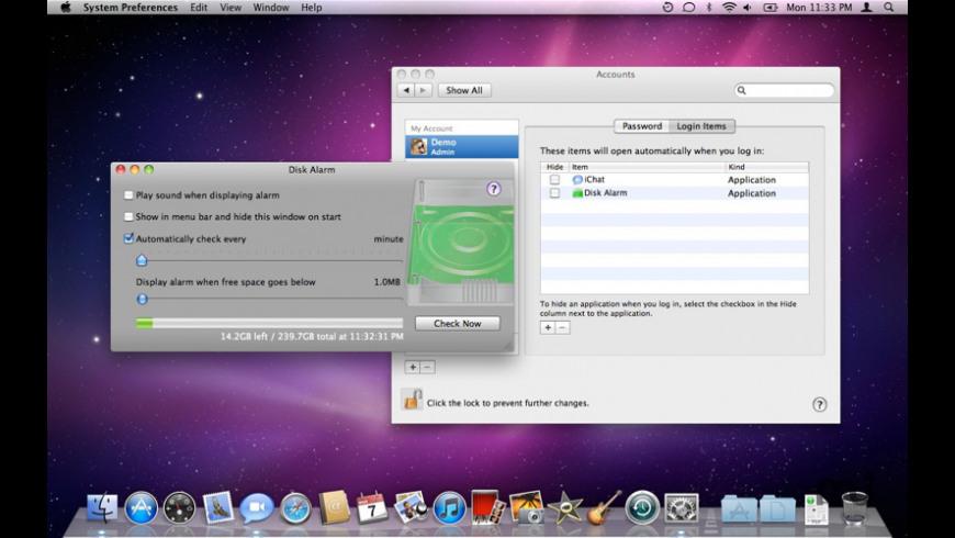 Disk Alarm for Mac - review, screenshots