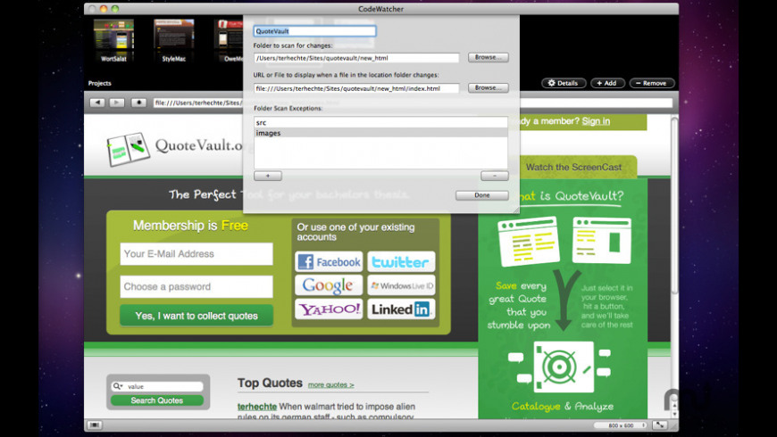 CodeWatcher for Mac - review, screenshots