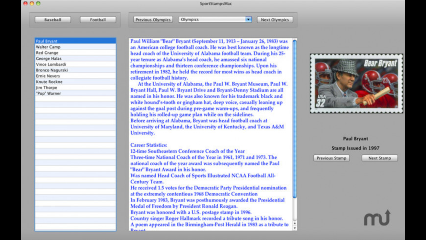 Sports On Stamps for Mac - review, screenshots
