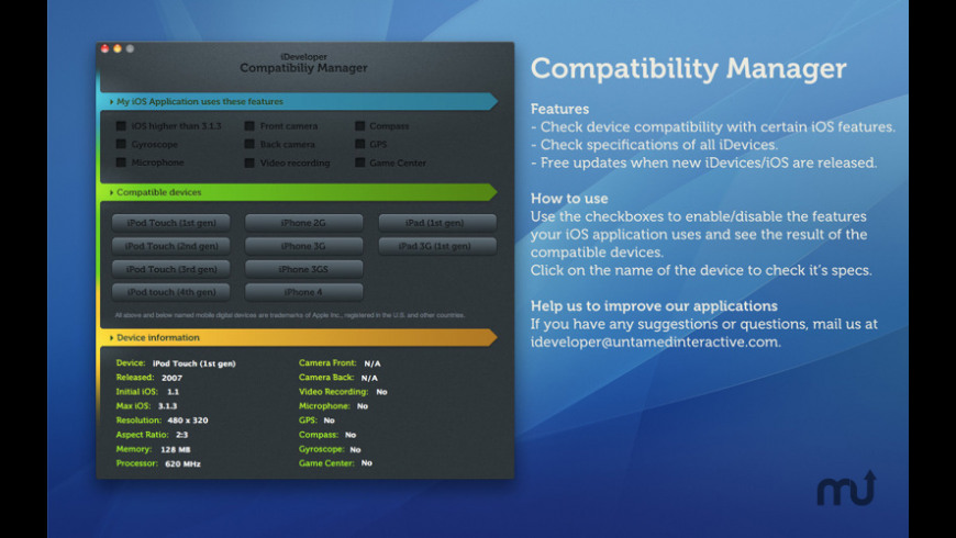 iDeveloper - Compatibility Manager for Mac - review, screenshots
