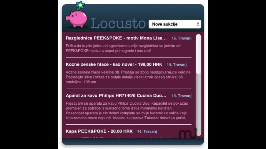 Locusto Aukcije Widget for Mac - review, screenshots