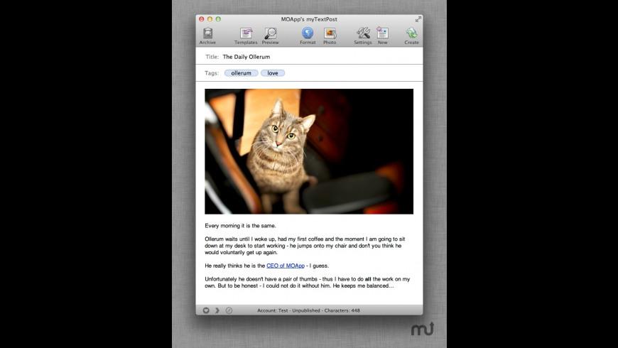 myTextPost for Mac - review, screenshots
