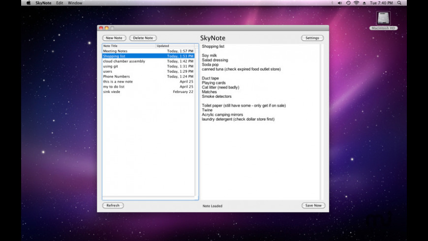 SkyNote for Mac - review, screenshots