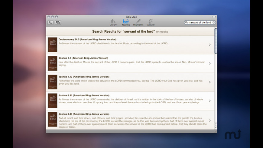 Bible App for Mac - review, screenshots