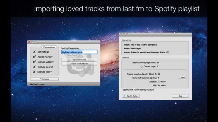 Loved Tracks Importer last.fm edition for Mac - review, screenshots