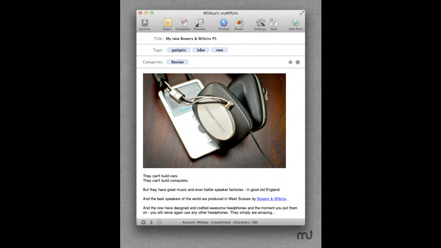 myWPEdit for Mac - review, screenshots