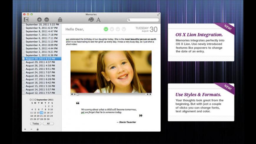 Memories for Mac - review, screenshots