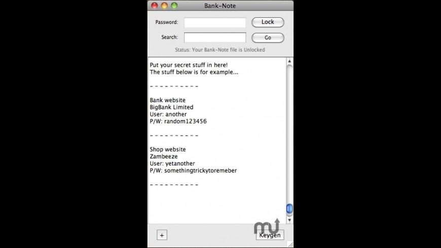 Bank-Note for Mac - review, screenshots