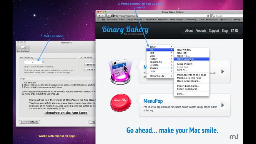 MenuPop Lite for Mac - review, screenshots