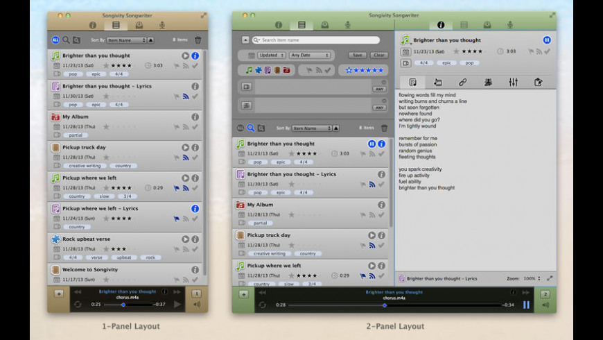 Songivity Songwriter for Mac - review, screenshots