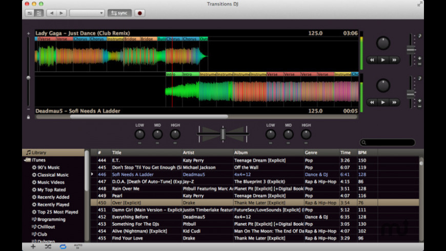 Transitions DJ for Mac - review, screenshots