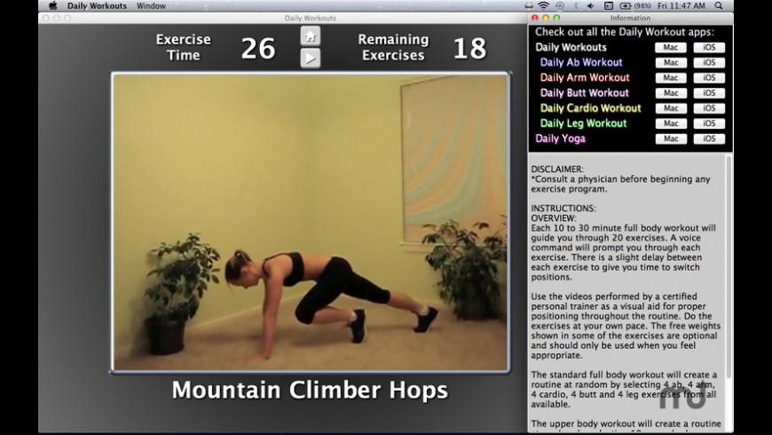 Daily Workouts for Mac - review, screenshots