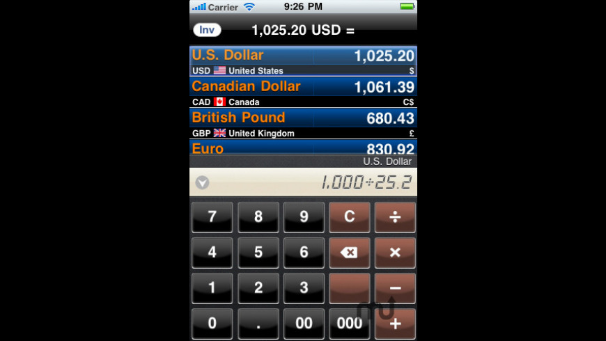 Currency Converter HD for Mac - review, screenshots