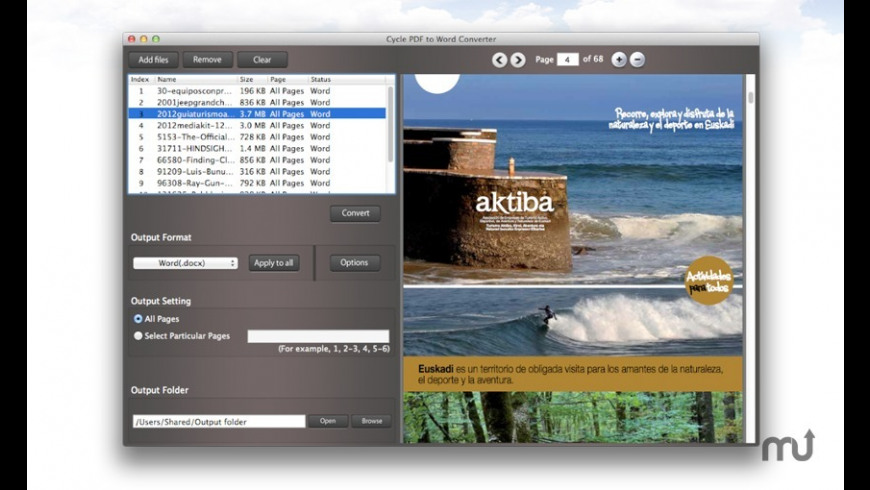 Cycle PDF to Word Converter for Mac - review, screenshots