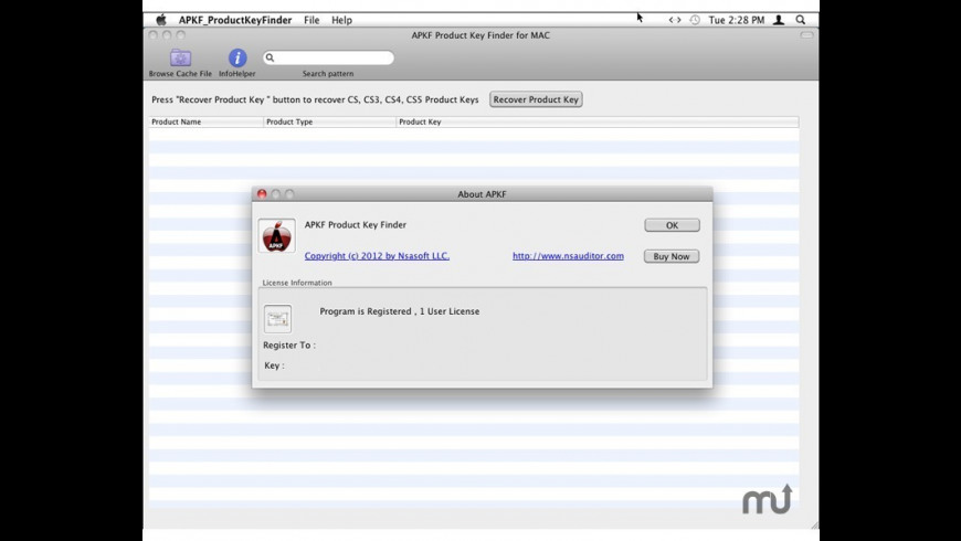 APKF Products Key Finder for Mac - review, screenshots