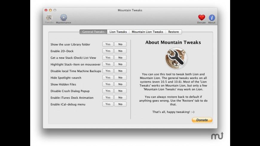 Mountain Tweaks for Mac - review, screenshots