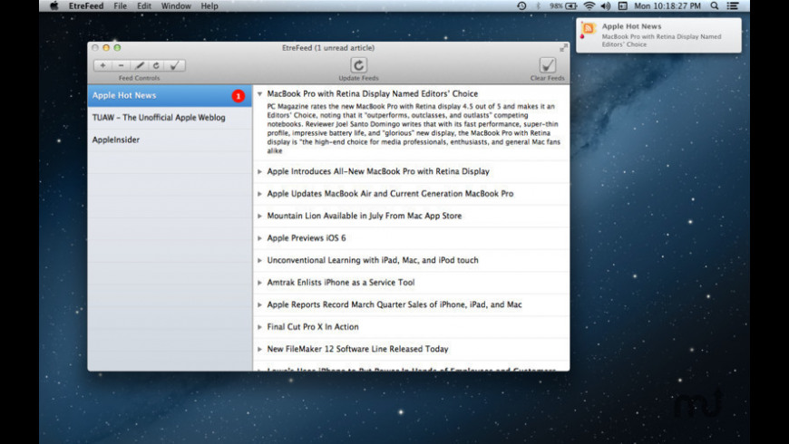 EtreFeed for Mac - review, screenshots
