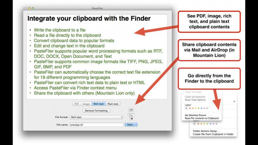PasteFiler for Mac - review, screenshots