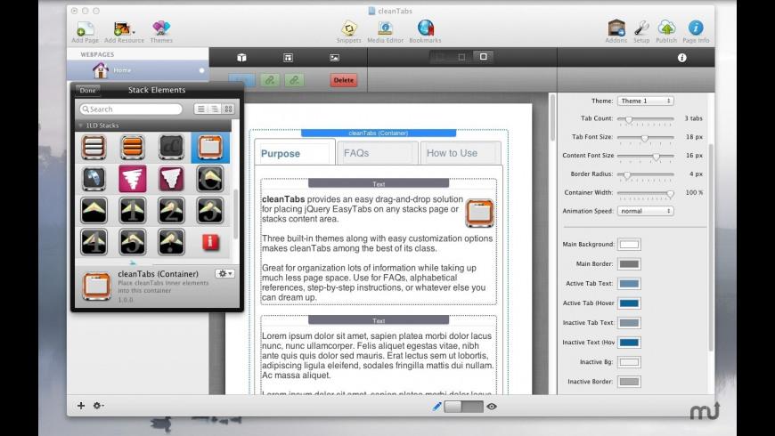 cleanTabs RapidWeaver Stack for Mac - review, screenshots