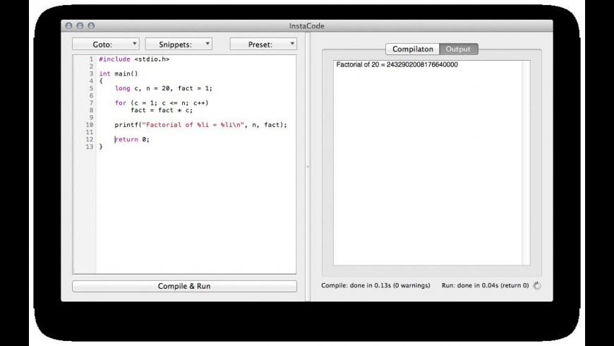 InstaCode for Mac - review, screenshots