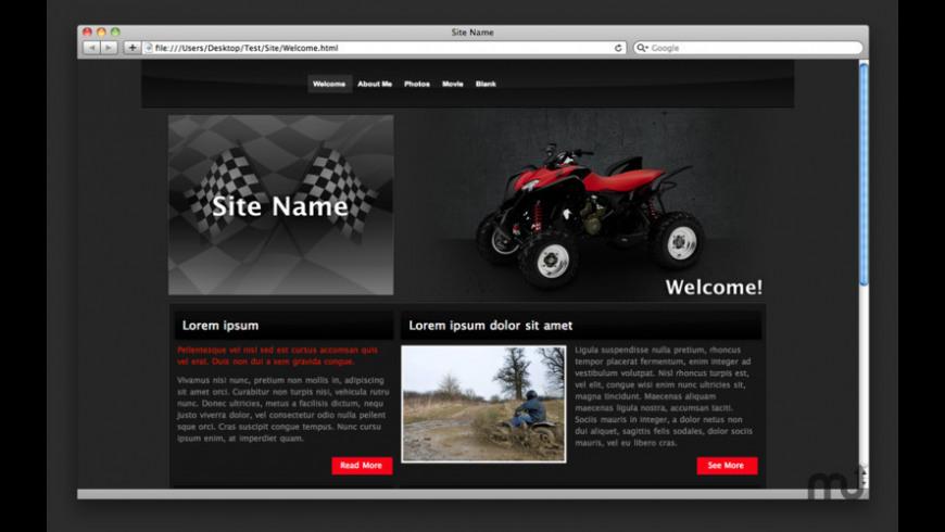 Theme Designs for iWeb for Mac - review, screenshots