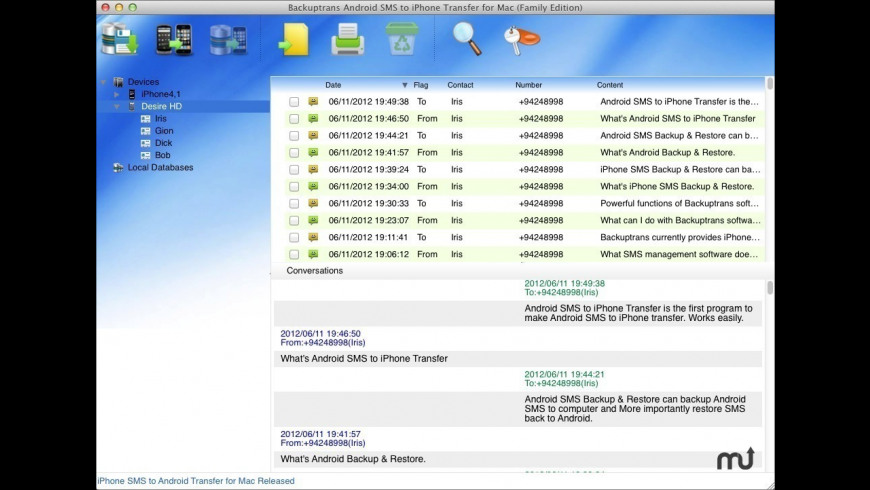 Backuptrans iPhone SMS + MMS to Android Transfer for Mac - review, screenshots