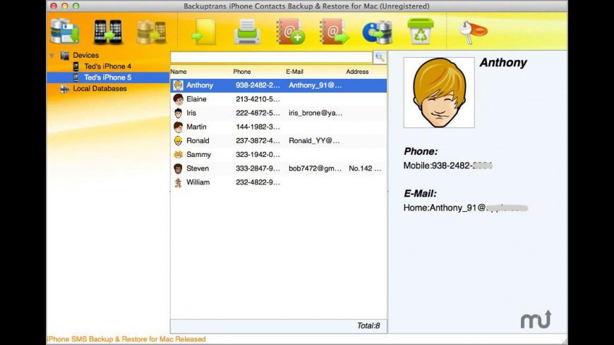 Backuptrans iPhone Contacts Backup & Restore for Mac - review, screenshots