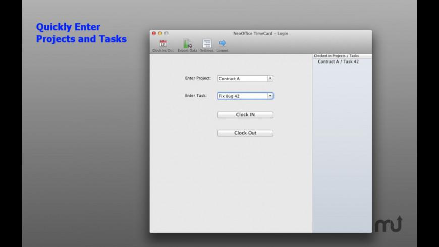 NeoOffice TimeCard for Mac - review, screenshots