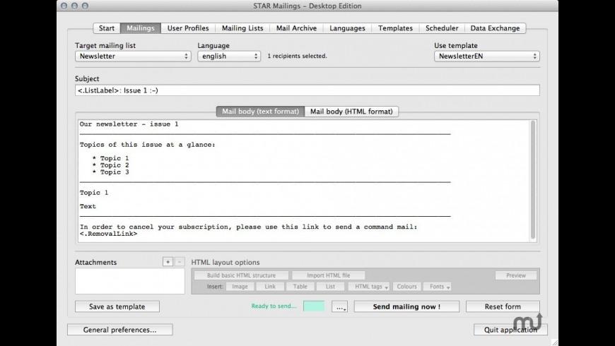 STAR Desktop Mailings for Mac - review, screenshots