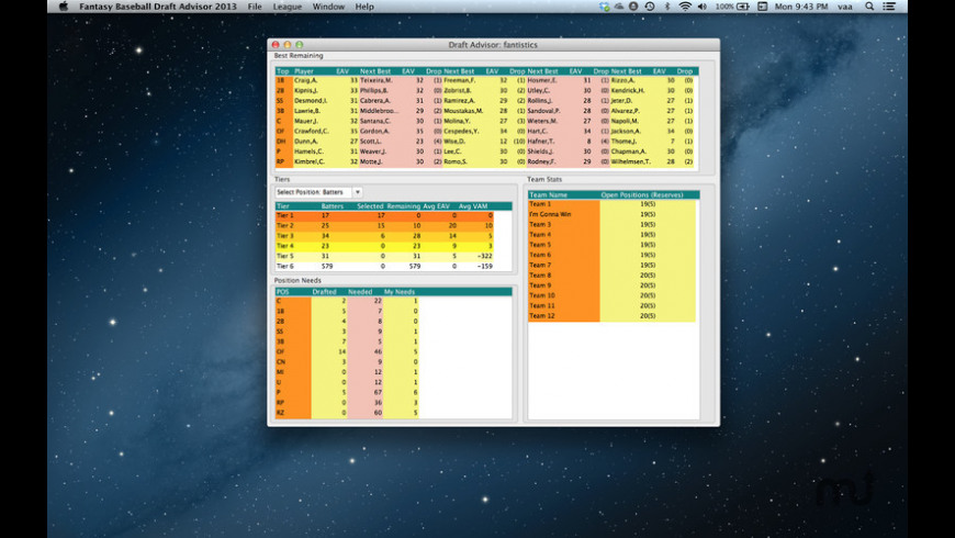 Fantasy Baseball Draft Advisor for Mac - review, screenshots